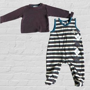 Kanz 2pc L/S Tee & Fleece Lined Overall Romper